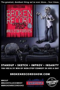 #BrokenRecordShow 4 - April 15-22, 2018 at Third Coast Comedy Club. Original poster art by Carden Illustration!