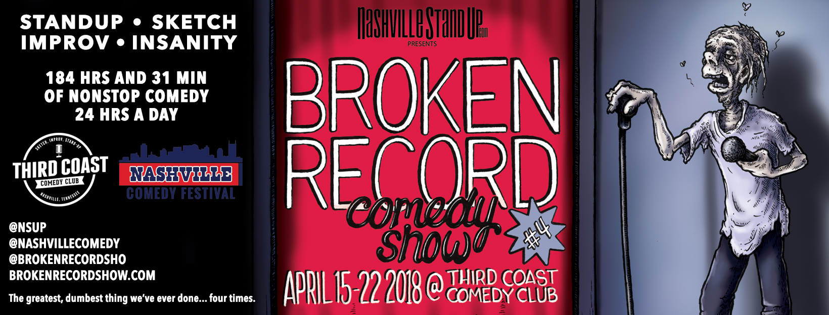 #BrokenRecordShow 4 - April 15-22, 2018 at Third Coast Comedy Club. Original poster art by Carden Illustration!